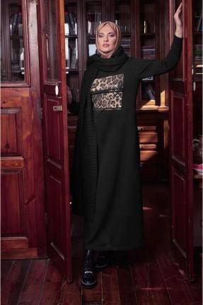 فستان سبور مزين بنقشة على الصدر - اسود