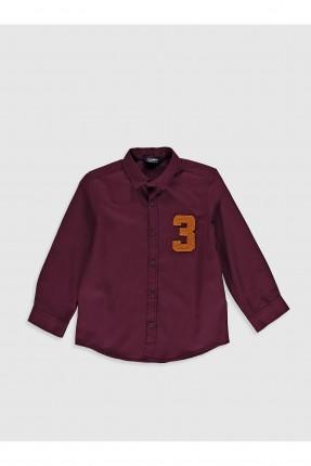 قميص اطفال ولادي بنقشة على الصدر - خمري
