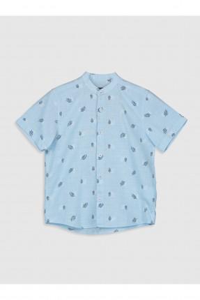 قميص اطفال ولادي بطبعة ورق شجر - ازرق