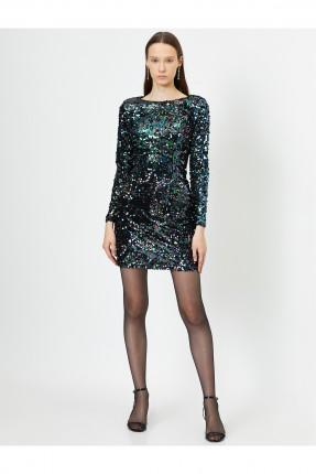 فستان رسمي مزين بالترتر بفتحة على الظهر