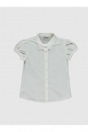 قميص اطفال بناتي كم قصير - ابيض