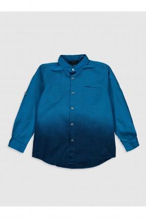 قميص اطفال ولادي بنقشة مموهة - ازرق