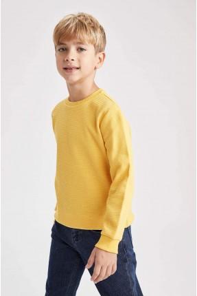 كنزة اطفال ولادي سبور بياقة دائرية - اصفر