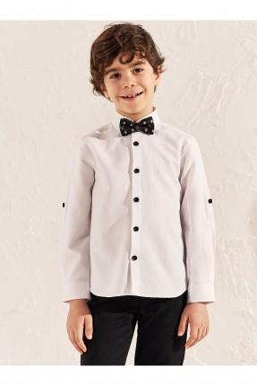 قميص اطفال ولادي ببابيون - ابيض