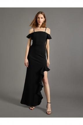 فستان رسمي طويل بشق جانبي كشكش - اسود