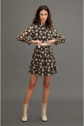 فستان سبور مزهر باكمام كشكش