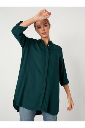قميص نسائي بازرار مخفية - اخضر