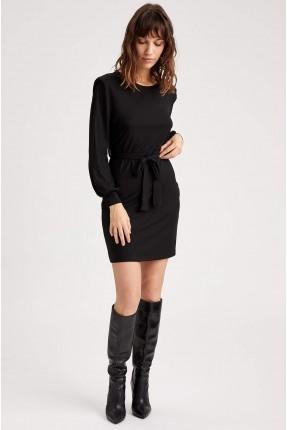 فستان سبور قصير بياقة دائرية - اسود