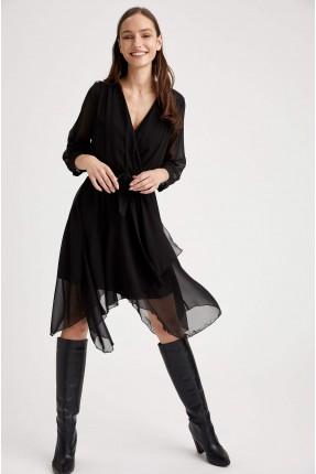 فستان سبور شيفون بياقة V - اسود