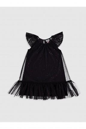 فستان اطفال بناتي مزين بالتول - اسود