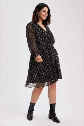 فستان سبور مزهر بياقة V - اسود