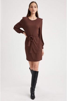 فستان سبور قصير باكتاف مطوية - بني
