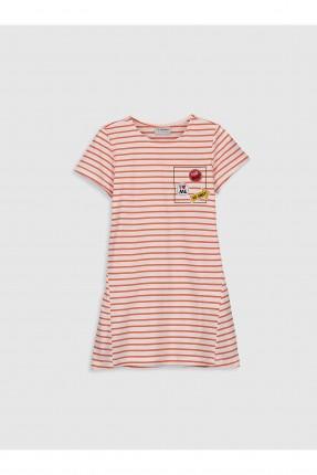 فستان اطفال بناتي مخطط بربطة على الظهر
