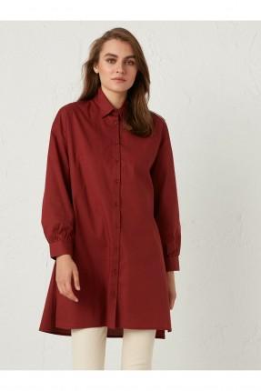 قميص نسائي بياقة كلاسيكية - خمري