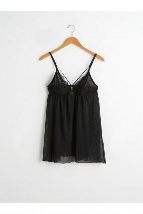 فستان لانجري من التول - اسود
