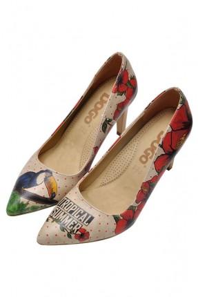 حذاء نسائي كعب عالي بطبعة طائر طوقان