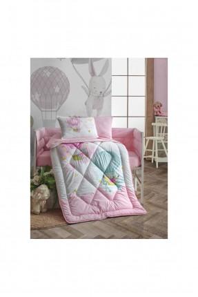 طقم لحاف سرير بيبي بناتي مزين برسومات