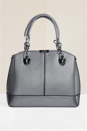 حقيبة يد نسائية مزينة بنقشة - رمادي