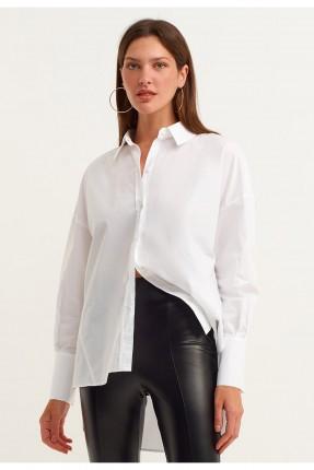 قميص نسائي سادة - ابيض