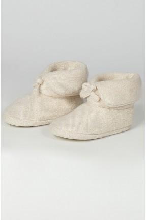 حذاء منزلي نسائي مزين بربطة - بيج