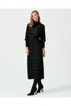 فستان طويل بشك عند الخصر - اسود
