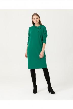 فستان بفيونكة عند الياقة - اخضر