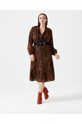 فستان بازرار وبنقشة وبزم من الاكمام