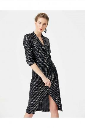 فستان رسمي قصير لامع - اسود