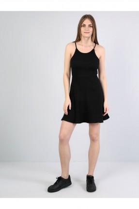 فستان قصير بشيال رفيع - اسود