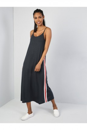 فستان طويل مزين بخطوط ملون - رمادي