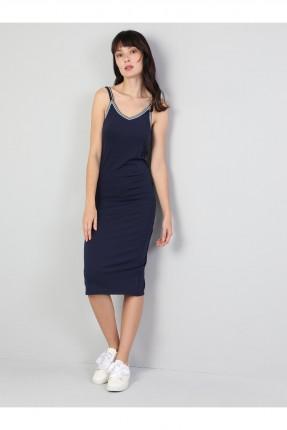 فستان طويل بشيال رفيع - كحلي