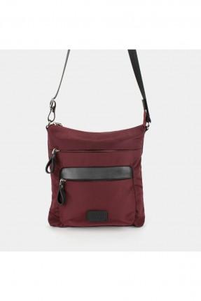 حقيبة يد رجالية بجيب جانبي عريض - خمري