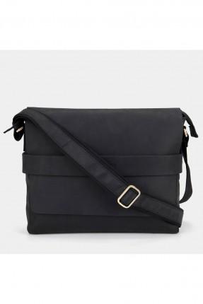 حقيبة يد رجالية بحزام في الوسط - اسود