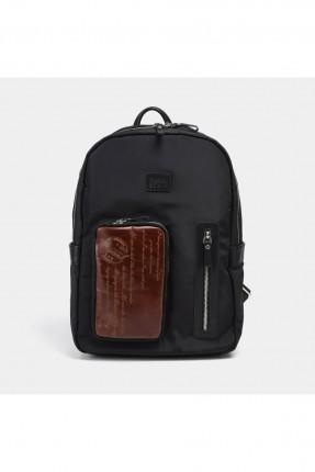 حقيبة ظهر رجالية بطبعة كتابة - اسود