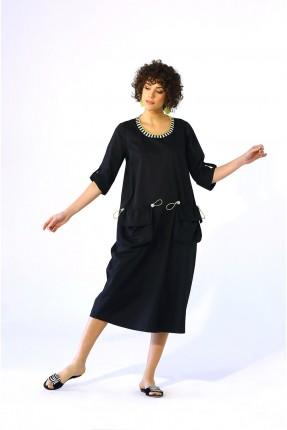 فستان طويل بياقة مزخرفة - اسود