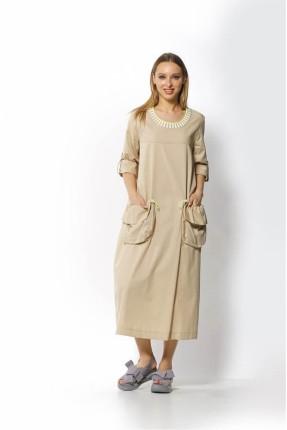 فستان طويل بجيوب كبيرة امامية - بيج