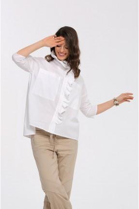 قميص نسائي مزين بكشكش - ابيض