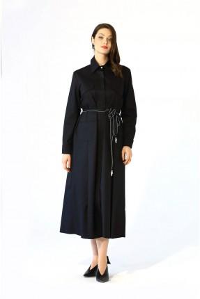 فستان طويل مزين بربطة على الخصر - اسود