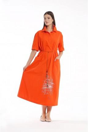 فستان طويل بجيوب كبيرة امامية