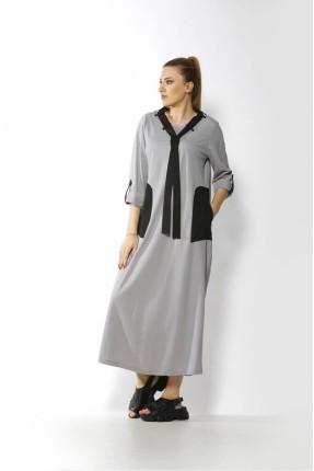 فستان طويل بجيوب كبيرة جانبية - رمادي