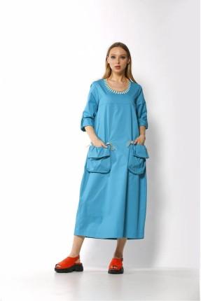 فستان طويل مزين بجيوب كبيرة امامية - ازرق