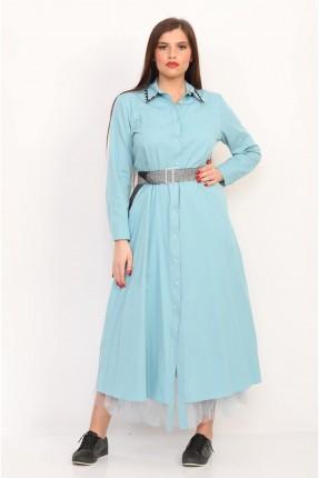 فستان مزين بالتول باكمام طويلة