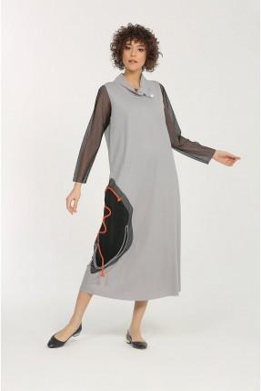 فستان طويل باكمام دانتيل - رمادي