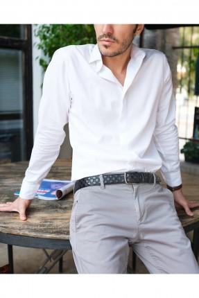 حزام رجالي جلد منقش بمربعات