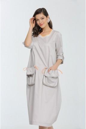 فستان طويل مزين بجيوب كبيرة كشكش - رمادي