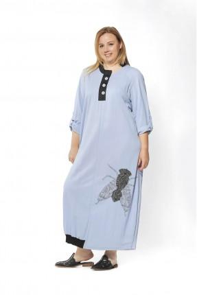 فستان طويل بازرار على الياقة - ازرق
