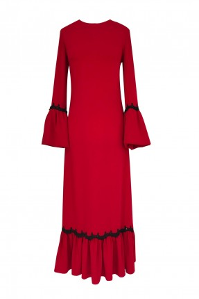 فستان رسمي مزين بكشكش على الاكمام