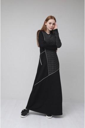 فستان سبور مزين بخطوط - اسود