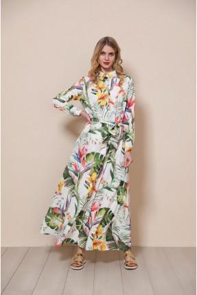 فستان مزهر مزين بياقة قميص