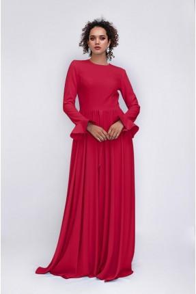 فستان رسمي كلوش باكمام مزينة بكشكش